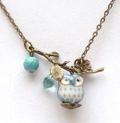 Antiqued Brass Leaf  Turquoise Quartz  Porcelain Owl Necklace.