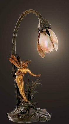 Art Nouveau ~ gilded and patinated bronze lamp with mother-of-pearl shade, Franc. - Art Nouveau ~ gilded and patinated bronze lamp with mother-of-pearl shade, Franc… – Antique Lamps, Vintage Lamps, Vintage Art, Vintage Clocks, Muebles Estilo Art Nouveau, Design Art Nouveau, Lampe Art Deco, Art Nouveau Furniture, Art Nouveau Interior