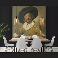 With a Muurmeester you can enjoy the unique paintings of the Dutch Masters like Frans Hals. Our changeable textile prints are delivered in luxurious aluminium frames, also in black. Get a Dutch master for your own wall! Natural Interior, Unique Paintings, Mural Wall Art, Dark Interiors, Interior Decorating, Interior Design, Textile Prints, Room Inspiration, Dutch