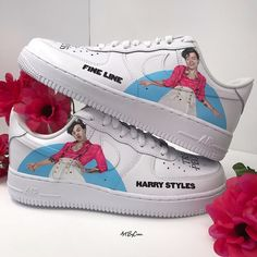 Custom Painted Shoes, Custom Shoes, Harry Styles Shoes, Custom Af1, Nike Shoes Air Force, Harry Styles Pictures, Air Force Ones, Dream Shoes, School Outfits