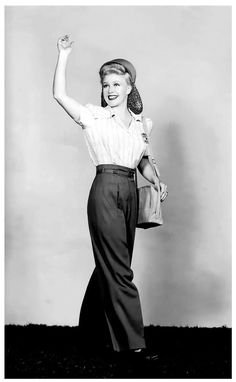 Ginger Rogers, 1940s.  Long hair in a 'snood'; pants