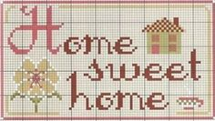 ♥ Home Sweet Home cross stitch chart. Cross Stitch House, Small Cross Stitch, Cross Stitch Borders, Cross Stitch Samplers, Cross Stitch Charts, Cross Stitch Designs, Cross Stitching, Cross Stitch Embroidery, Cross Stitch Patterns