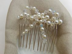 Cream Pearl and Crystal Bow Hair Comb, Wedding Jewellery, Bow, Bridal Jewellery, Bridesmaid, Flower Girl, Bride, Accessories, Head Dress