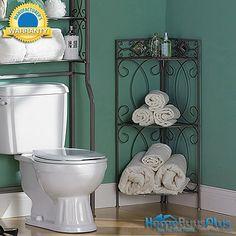 Bath Corner Storage Rack 3 Shelf Towel Pewter Bathroom Mirror Towel.  $69.99