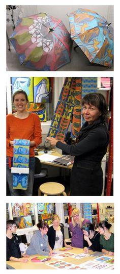 KETTUKI –tuoteperhe: Tarjottimia, sateenvarjoja, kansia, kyniä ja pussukoita, Taideteoksen tuotteistaminen, tuotteiden ideointi, tuotekehitys ja protovalmistus // Tilaaja/Client: Kehitysvammaisten taiteilijoiden tuki ry Kettuki // Suunnittelijat/Designers: Tekstiilin ATE08 opiskelijat, 2010 // Yhteistyökumppanit/Partners: Arazzo, EloQ, Talenco, PrivateCase, Veljekset Backman Oy