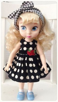Disney Animator Doll Clothes Black & White Polka Dot by BeMyChic Disney Toddler Dolls, Disney Princess Dolls, Disney Dolls, Baby Disney, Barbie Doll Set, Girl Dolls, Bjd Dolls, Doll Clothes Patterns, Doll Patterns