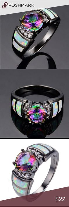 Black Gold Filled Rainbow Opal CZ Crystal Ring Elegant and Beautiful Luxury 10K Black Gold Filled Rainbow Opal & 1.0K CZ Crystal Ring. PRODUCT DETAILS: Metal: 10K Black Gold Filled.                                                                Main Stone: Opal &1 Carat CZ Ring.  Weight: 4gm. Size: 6/7/8/9 Main Stone Size: Approx 8*8mm.  Wear this charm with any outfit and everyday.  It will make you glow. A beautiful gift for your loved ones for any special occasion. Jewelry Rings