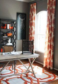 contemporary home office by Cristi Holcombe Black + orange + white + gray.