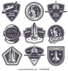Illustration about Set of vintage space and astronaut badges, emblems, logos and labels. Illustration of astronaut, helmet, emblem - 61999085 Vintage Logo, Vintage Space, Vintage Design, Monochrome Image, Monochrome Fashion, Astronaut Cartoon, Aviation Logo, Science Images, Lab Logo