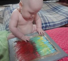 "Baby's first art ""class"" - Non messy intro to art."