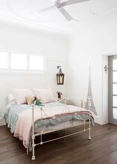 Beachside bohemian bliss - Homes, Bathroom, Kitchen & Outdoor French Provincial Bed, Storybook Homes, Bedroom Styles, Bedroom Ideas, Timber Flooring, Flooring Options, White Walls, Bed Frame, Sweet Home