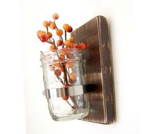 Country cottage mason jar wood wall decor flower vase primitive country Chocolate Brown Espresso
