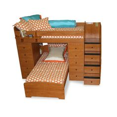 Sierra Twin Space Saver L Shaped Bunk Bed With Stairs And Storage (twin Over…