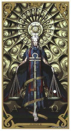 VIII. Justice - Night Sun Tarot by Fabio Listrani