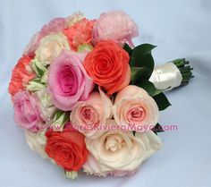 #coral #pinks #ivory #weddings Affordable wedding florist Cancun and Riviera Maya