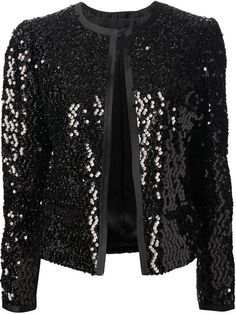 Black silk blend sequin jacket from Dolce & Gabbana featuring a round neck, a hook & eye fastening, long sleeves and front pockets. stretch silk with poly sequins . Stylish Dress Designs, Stylish Dresses, Iranian Women Fashion, Korean Fashion, Black Sequin Jacket, Sequin Blazer, Hijab Fashion, Fashion Dresses, Hijab Stile