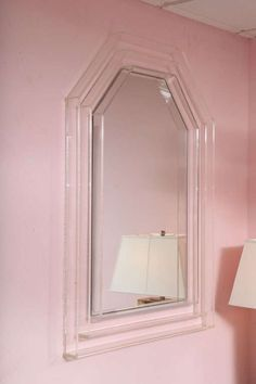 Lucite Mid-Century Huge Chunky Mirror, Contemporary Look 4