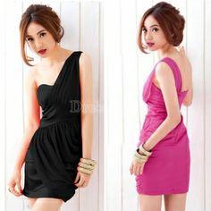 $ 6.15 New Sexy Women's Girl Off Shoulder Net Yarn Bag Hip Slim Dinner Party Dress 2 Colors