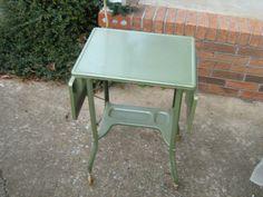 MID-CENTURY INDUSTRIAL GREEN METAL ROLLING DROP LEAF TYPEWRITER  TABLE W/LIGHT