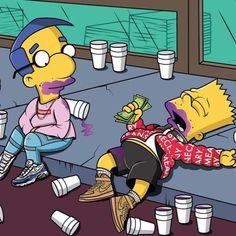 'The Simpsons' Characters Illustrated in Supreme Simpsons Characters, Simpsons Art, Image Simpson, Lila Baby, Hip Hop, By Any Means Necessary, Supreme Wallpaper, Dope Art, Illustration