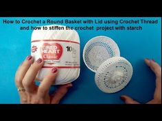 In this tutorial I will show you how to crochet this round basket with a lid using size number 10 cotton crochet thread. I used a size mm crochet hook. C2c Crochet, Crochet Round, Cotton Crochet, Thread Crochet, Crochet Hooks, Yarn Projects, Crochet Projects, Back Post Double Crochet, Chunky Knitting Patterns