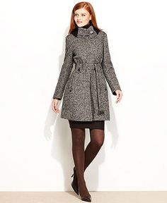 Calvin Klein Coat, Knit-Collar Tweed Belted - Womens Coats - Macy's - Crowsfoot (not sure if this is white with black or brown, I want brown)