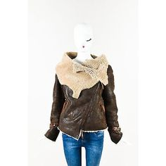 Pre-Owned Karl Donoghue Brown Lamb Leather & Shearling Oversized... ($605) ❤ liked on Polyvore featuring outerwear, jackets, brown, brown jacket, distressed jacket, lamb leather jacket, white jacket and karl donoghue