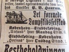 Dampskibene ULVSUND og HORSENS sejlede for DFDS mellem Stubbekøbing og København. Annonce i Stubbekøbing Avis, 1904. Fra Jimmy Nielsens udklipsarkiv