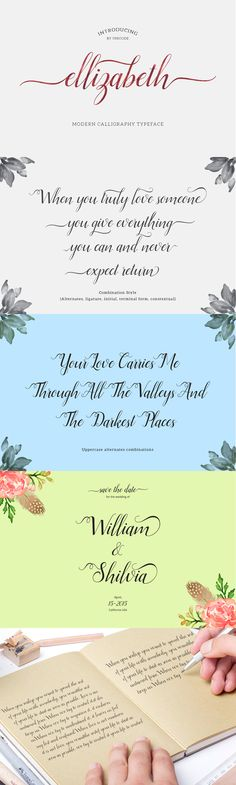 Ellizabeth Script (25% Off) by Unicode on Creative Market  Elizabeth is a #script #typeface beautiful #calligraphy and modern with inreguler baseline. This font is suitable for a wide range of products each project, such as #wedding invitations, #greeting cards, correspondence, and various other purposes and many more.