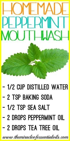 Check out this DIY peppermint essential oil mouthwash recipe for fresh breath an., DIY and Crafts, Check out this DIY peppermint essential oil mouthwash recipe for fresh breath and good oral health! Essential Oils For Add, Young Living Essential Oils, Remedies For Tooth Ache, Receding Gums, Best Oral, Best Teeth Whitening, Oral Hygiene, Oral Health, Dental Health