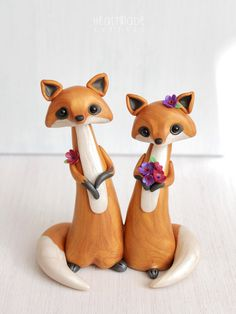 Red Foxes Wedding Cake Topper - personalized fox polymer clay cake topper and keepsake for woodland rustic and chic wedding theme