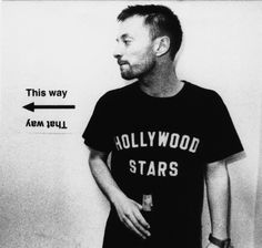 31306e875 For an Uncut Magazine shoot, Radiohead's Thom Yorke wore this Hollywood  Stars t-shirt.