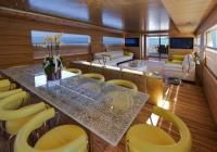 Mabrouk - Motor Yacht - - Discover your Glamorous Mediterranean Experience Motor Yacht, Dining Table, Interior Design, Wood, Home Decor, Nest Design, Decoration Home, Home Interior Design, Woodwind Instrument
