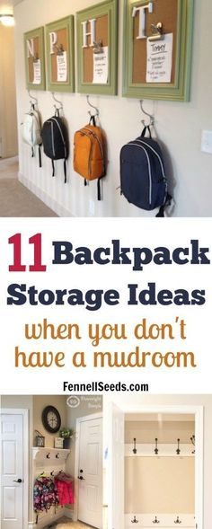 11 Backpack Storage Ideas When You Don't Have A Mudroom Awesome ideas for backpack storage using small spots in your home. No mudroom, no problem. Keep the backpacks from laying on your floor. Coat Storage, Kids Storage, Hall Storage Ideas, Storage Ideas For Kids, Foyer Storage, Storage Hooks, Garage Storage, Backpack Station, Laundry Room Organization