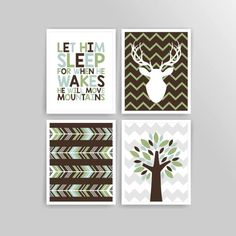 Printable DIY Pale Teal Moss Green Brown Woodland Deer Boy
