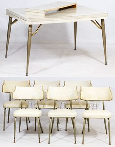 Lot 103: Mid-Century Modern Kitchen Set; Including a table and leaf with Formica top and six chairs having metal legs, vinyl seat and back cushions