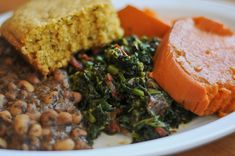 Collards, black eyed peas, yams and corn bread from Souley Vegan.