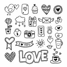 Love Doodles, Easy Doodles Drawings, Cute Easy Drawings, Mini Drawings, Kawaii Doodles, Simple Doodles, Easy Doodles To Draw, Simple Doodle Art, Things To Doodle
