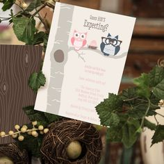 The Owl Parents baby shower invitations are a fun way to introduce your baby shower.  Change the colors instantly online for a boy or a girl.