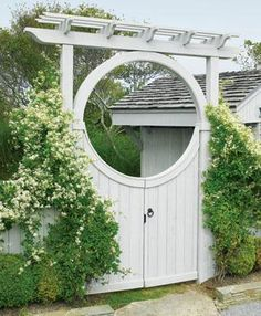 Seaside Custom Moon Gate | Wood, Solid Cellular PVC and Vinyl Driveway, Estate and Walkway Gates from Walpole Woodworkers