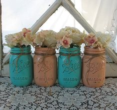 Painted Mason Jars for Centerpiece #rustic #wedding #decor