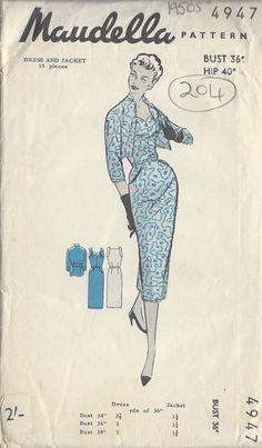 1950s Vintage Sewing Pattern B36 DRESS & JACKET 204
