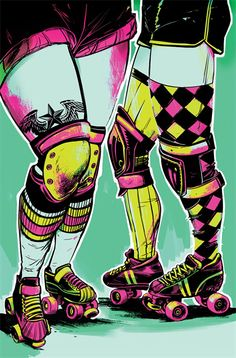 But slam, the roller derby-themed comic by pamela ribon and veronica fish has been getting . Best Comic Books, Comic Books Art, Book Art, Skates, Roller Derby Girls, Bike Photography, Art Prompts, Fun Comics, Sports Art