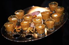 J. Scott Catering- Passed Hors D'oeuvres Roasted Butternut Squash Soup Shooter  Photo courtesy of Philip Gabriel Photography