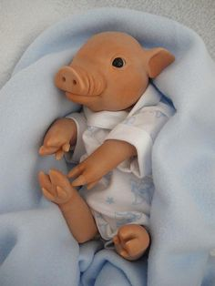ooak polymer clay piglet by Silent Friends