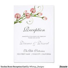 "Garden Roses Reception Card 3.5"" X 5"" Invitation Card"