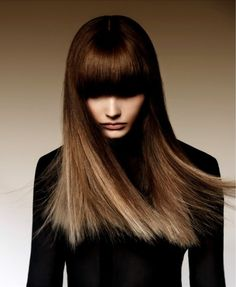 Blunt cut long hair with full bangs. | Source: zsazsabellagio.tumblr.com pinned via mary adams