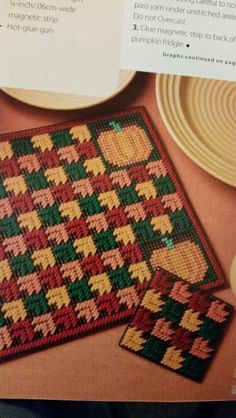 Autumn Glory Set 1 of 3 Plastic Canvas Coasters, Plastic Canvas Stitches, Plastic Canvas Ornaments, Plastic Canvas Crafts, Plastic Canvas Patterns, Simple Embroidery, Cross Stitch Embroidery, Big Kids, Diy For Kids