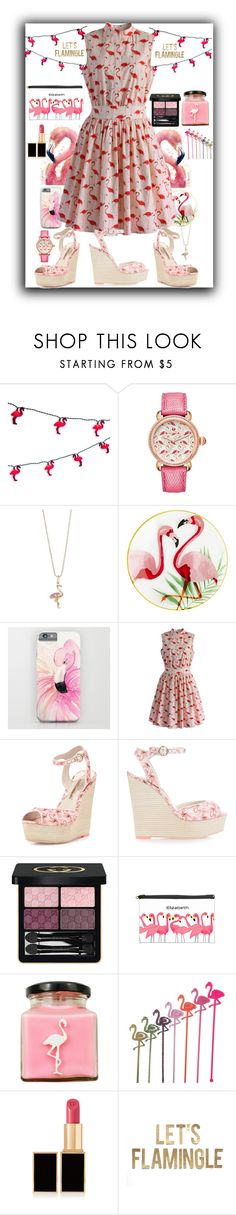 """Let's FlaMINGLE"" by swimsinger ❤ liked on Polyvore featuring WALL, Michele, Sydney Evan, Pier 1 Imports, Chicwish, Sophia Webster, Gucci, Flamingo Candles and Tom Ford"