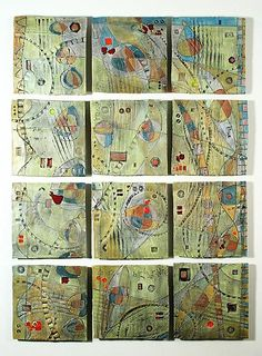 Abstract Space, Hills, 12-Tile Wall Piece: Janine Sopp: Ceramic Wall Art - Artful Home